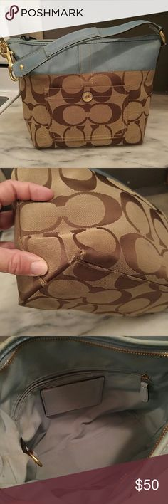 """Authentic Coach Purse Signature Stripe medium shoulder handbag..Outside is clean..inside has 1 small mark I couldn't get out. Not noticeable. Slight wear on corners..I took a pic of the worst one..isn't that bad.  Measures 11"""" wide ..9"""" tall and 4 1/2"""" deep. Coach Bags Shoulder Bags"""