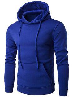 Kangaroo Pocket Drawstring Plain Hoodie #CLICK! #clothing, #shoes, #jewelry, #women, #men