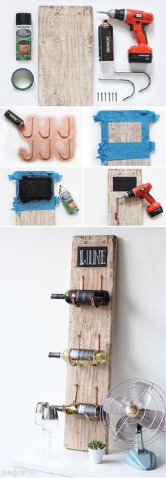 Another simple wine rack that looks awesome. It is a little rustic wine holder that is made out of a piece of wood and with few hangs. Just put it together and hang it on your wall. Just like that, you are ready to display your favorite wines.