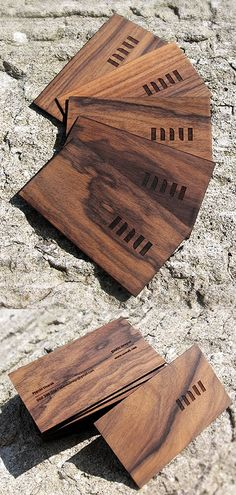 5 perfectly carved wooden business card designs