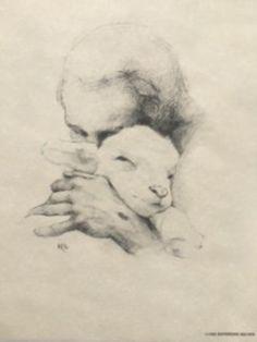 Jesus Holding a Lamb Lamb Drawing, Painting & Drawing, Water Drawing, Jesus Drawings, Lion And Lamb, Charcoal Sketch, Prophetic Art, Lion Of Judah, Jesus Pictures