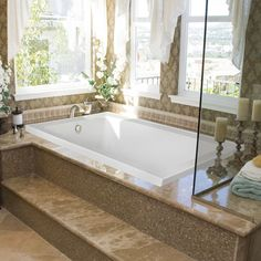 Upgrade Your Bathroom with Whirlpool Tub: Mosaic Tile Tub Surround And Whirlpool Tub With Pillar Candle Holders Also Jetted Bathtub And Window Treatment With Wallpaper Plus Glass Enclosure And Tile Flooring With Whirlpool Bathtubs