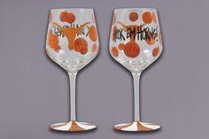 University of Texas Painted Wine Glasses