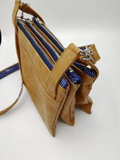 Triple pochette ChaChaCha en simili cuir et coton bleu cousue par Blnd - Patron Sacôtin