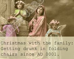 The funniest Christmas cards: Getting drunk in folding chairs