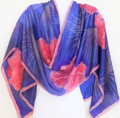 Hand painted silk shawl /wrap with a tropical theme featuring hibiscus flowers and palm leaves. Painted in pinks, blues and purple. Painted Silk, Hand Painted, Handmade Scarves, Tropical Style, Pink Scarves, Silk Shawl, Silk Painting, Shawls And Wraps, Hibiscus