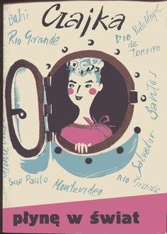 """""""Płynę w świat"""" Czajka Izabela Stachowicz Cover by Irena Kuczborska Published by Wydawnictwo Iskry 1965"""