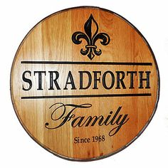 Personalized Reclaimed Wine Barrel Head with Family and Fleur de Lis at Wine Enthusiast - $349.00
