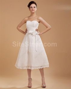 Women Satin Ribbon Sweep Wedding Dresses