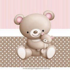 Kit Festa Chá de Bebê Ursinha: Grátis para baixar - Cantinho do blog Layouts e Templates para Blogger Project Life Baby, Project Life Cards, Baby Girl Birthday Theme, Baby Birthday Cakes, Teddy Bear Party, Cute Teddy Bears, Baby Shower Oso, Baby Shower Gifts, Teddy Bear Tattoos