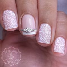 Roselynn takes us to the swirly world of rose patterns. A single nail with a french tip and a Nail Jewel from www.JamesAllen.com, turns this mani into a much coveted bridal creation. #PutARingOnIt