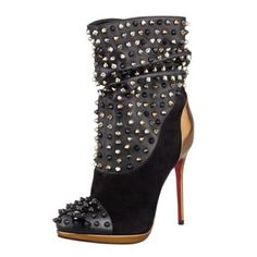 Christian Louboutin Spike Wars Red Sole Ankle Bootie Black