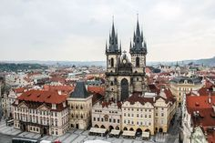 Tyn Church in Prague From Above - Stock Photo , Photography Props, Creative Photography, Prague Photos, Birds In Flight, Photo Library, Travel Photos, Facade, Cathedral, Mexico