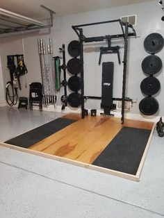 PRX Performance Wall Mounted Rack With Deadlift Platform Home Gym Decor Home Gym Basement, Home Gym Garage, Diy Home Gym, Gym Room At Home, Home Gym Decor, Garage House, Home Gyms, Workout Room Home, Workout Rooms
