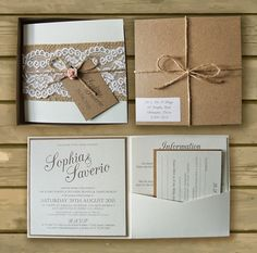 Bespoke Boxed Kraft Wedding Invitations Lace & Hessian