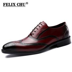 FELIX CHU Luxury Autumn Genuine Leather Men Wedding Brogue Wingtip Lace Up  Burgundy Black Office Party Formal Oxford Dress Shoes 3675e8da510a