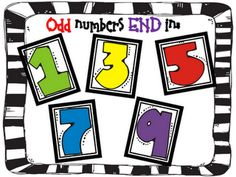 """Even and Odd Posters:  make this one for """"odd"""" and one with numbers 2,4,6,8,0 for the """"even""""."""