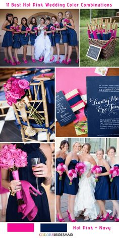 Try a hot pink wedding! The color looks lovely with black, blush, gold or navy etc. Check the article for 11 best hot pink wedding color combinations and ideas! Fuschia Wedding, Navy Wedding Colors, Hot Pink Weddings, Pink Wedding Theme, Summer Wedding Colors, Wedding Themes, Dream Wedding, Wedding Ideas, Summer Weddings