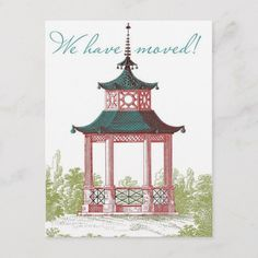 Shop Pagoda Change of Address Cards created by charmingink. Garden Gazebo, Deck With Pergola, Backyard Pergola, Pergola Plans, Change Of Address Cards, Pagoda Garden, Pergolas For Sale, Landscaping Software, Landscape Drawings