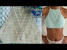 Cropped Frente Única em Barbante - YouTube Crochet T Shirts, Crochet Blouse, Crochet Clothes, Crochet Lace, Crochet Bikini Pattern, Crochet Halter Tops, Crochet Bikini Top, Knitting Designs, Knitting Patterns