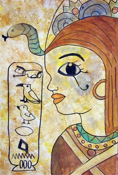 """""""Egyptian Portraits"""" Students studied the ancient civilization of Egypt and created a historical profile of themselves. A cartouche of their name was created using the hieroglyphic alphabet. The background was sponge painted first to create the wall surface. Black sharpies and tempera paint were used to add the color."""