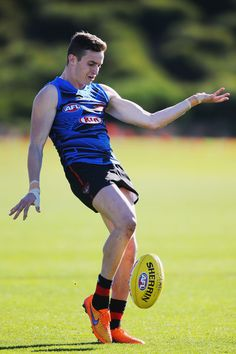 Orazio Fantasia of the Bombers kicks the ball during an Essendon Bombers AFL training session at True Value Centre on June 20, 2017 in Melbourne, Australia.