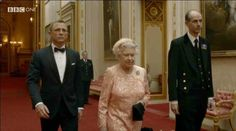 Daniel Craig (James Bond) and Queen Elizabeth (the new Bond Girl).
