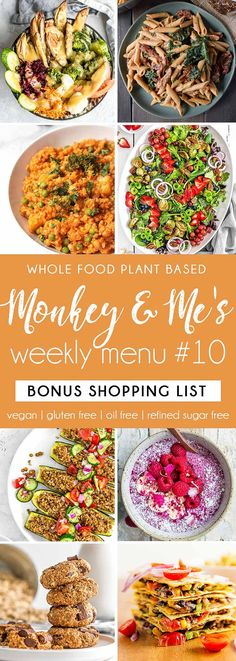and Me's Menu 10 Whole Food Plant Based Weeknight Menu Plan!Whole Food Plant Based Weeknight Menu Plan! Plant Based Diet Meals, Plant Based Meal Planning, Plant Based Eating, Plant Based Recipes, Menu Planning, Vegan Weeknight Meals, Vegan Dinners, Vegan Meal Plans, Vegan Meal Prep