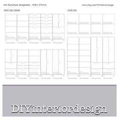 Ikea STUVA frames H.128 and 192 cm or 50 and 75 inch template A4 DIY interior design furniture distribution. on Etsy, 3,00 €