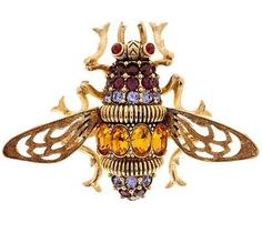 QVC Joan Rivers Crystal and Enamel Antiqued Bee Pin