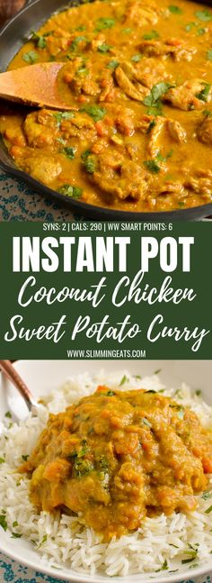 Delicious Creamy Coconut Chicken and Sweet Potato Curry which can be cooked stove top or in an Instant Pot gluten free dairy free paleo Slimming World and Weight. Chicken Sweet Potato Curry, Sweet Potato Coconut Curry, Creamy Coconut Chicken, Chicken Curry Paleo, Sweet Curry Recipe, Coconut Chicken Recipes, Healthy Chicken, Chicken And Sweet Potato Recipe Healthy, Harissa Chicken