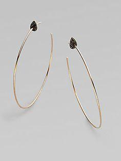 Diane Kordas Black Diamond Accented 18K Rose Gold Hoop Earrings