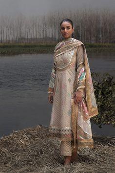 Rimple & Harpreet Narula - Pale Peach kalidar with gota embroidery