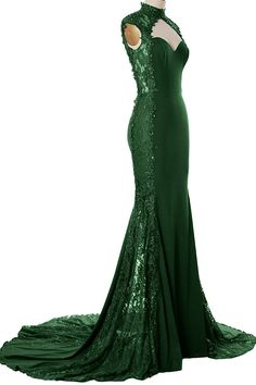 MACloth Women Mermaid High Neck Beaded Lace Jersey Long Formal Evening Gown ** To view further, visit now : formal dresses