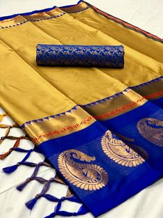 Style Array Present Golden And Blue Color Beautiful Embroidered Branded Silk Cotton Saree . Buy This Attractive Look Golden And Blue Color Beautiful Embroidered Branded Silk Cotton Saree Silk Cotton Sarees, Cotton Silk, Chiffon Saree, My Collection, Saree Collection, Ethnic Gown, Plain Saree, Kanchipuram Saree, Saree Blouse