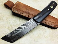 Titan's Hand made Damascus Hunting Knife Tanto in Buffalo Horn Handle - 9738 E