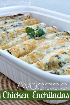 Avocado Chicken Enchiladas- this recipe is so delicious! The cumin makes the sauce. I would recommend using smaller tortillas-- I found that I didn't have quite as much sauce as I would like on my enchilada. I will definitely make this again!