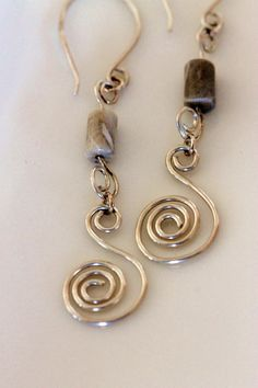 sterling silver spiral earrings long dangle /fossil by girlthree, $39.00
