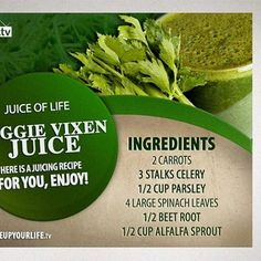 Veggie Vixen Juice Recipe #Carrots #Celery #Parsley #Spinach #BeetRoot #AlfalfaSprout