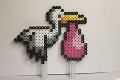 Perler beads Stork cake topper (pink)