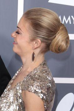 LeAnn Rimes sleek, bun hairstyle
