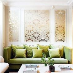 Wallpaper or stencil a canvas instead of committing to the whole wall!
