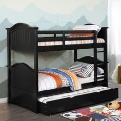 Hermine antique black finish wood twin over twin convertible bunk bed. Black Bunk Beds, Wood Bunk Beds, Twin Bunk Beds, Kids Bunk Beds, Living Room Sofa Design, Living Room Designs, Convertible Bunk Beds, Best Platform Beds, Night And Day Furniture