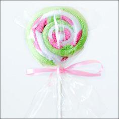 Lollipop Washcloths- Pink & Green Flowers -Girl | Yummy Baby GiftsYummy Baby Gifts