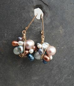 Gold Fill Wire Wrapped Cluster Earrings with by HipChickJewelry, $42.00
