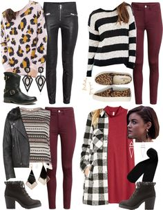 Aria Montgomery inspired winter travel outfit ideas by liarsstyle featuring a moto jacket