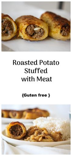 Roasted Potato Stuffed with Meat - :: Nutrizonia :: Halal Recipes, Potato Recipes, Cooking Recipes, Roasted Potatoes, Roasted Chicken, Palestinian Food, Oven Dishes, Eastern Cuisine, Gluten Free Chicken