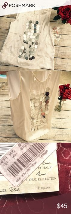 100% Silk Top This top is a showstopper! absolutely gorgeous white silk top with shimmery silver detail intuitions Tops