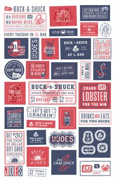 A brand-refreshing toolkit for Joe's Crab Shack. The Studio of Dan Cassaro teamed up with McCann to create a series of borders, illustrations, and catchwords to be used as a modular system for the Joe's in-house design team. Art Director: David Waraksa/McCann.  Icons: Dan Christofferson.