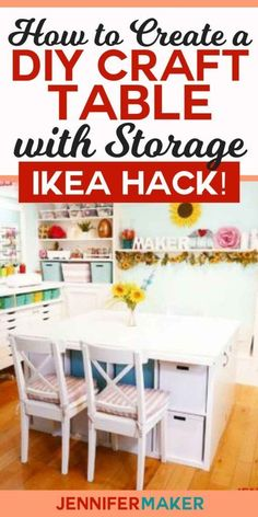DIY Craft Table with Storage - My IKEA Hack! - Jennifer Maker Diy Craft Table ikea diy craft table with storage Diy Storage Table, Craft Tables With Storage, Craft Room Storage, Craft Organization, Diy Table, Craft Rooms, Wood Table, Scrapbook Organization, Wood Storage